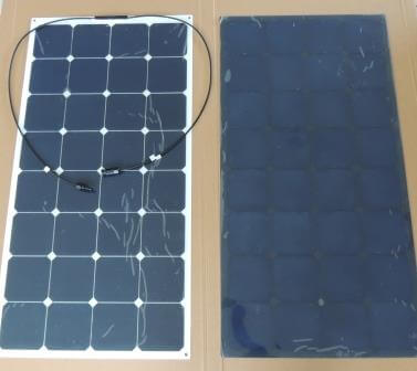 Flexible solar panel options include white or black background