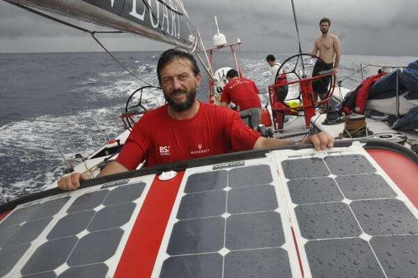 Giovanni Soldini racing with Solbian lightweight flexible solar panels