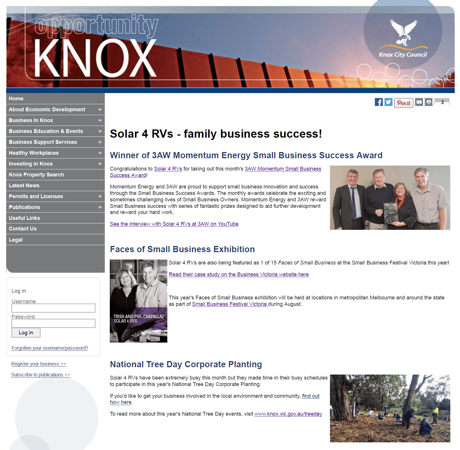 Knox Business Direct Website Solar 4 RVs family business success