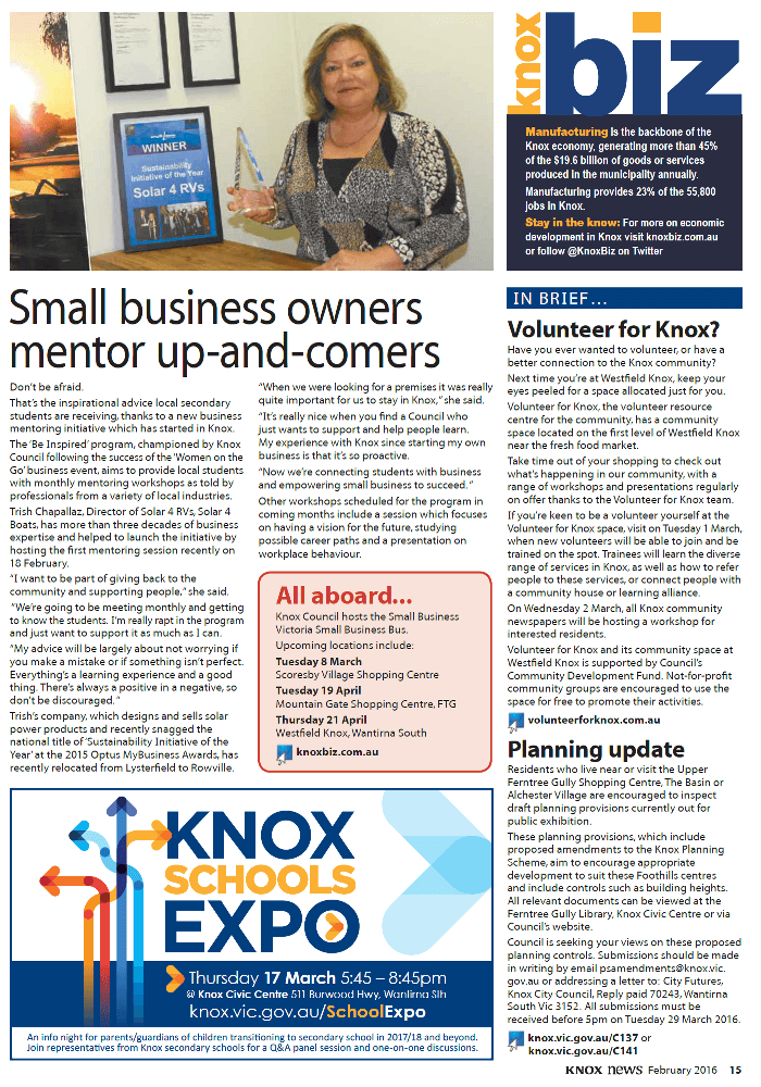 KnoxBiz Magazine highlights business mentoring for school students with Trish Chapallaz