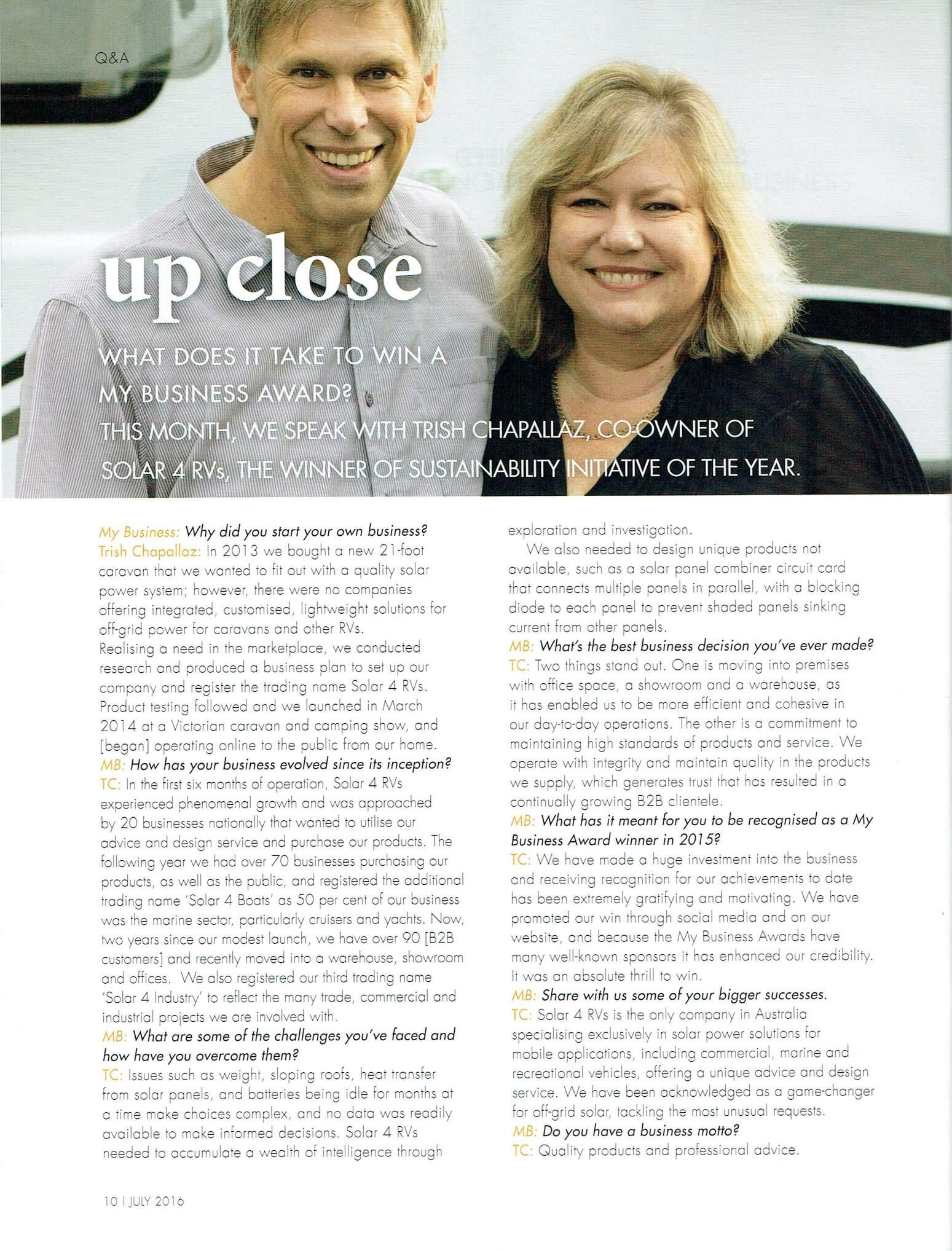 Phil and Trish from Solar 4 RVs in My Business magazine