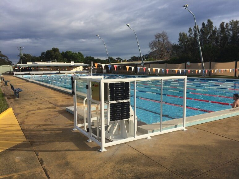 Corrimal pool has CMA designed hydraulic access lift with solar