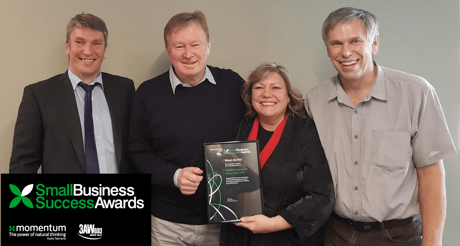 Solar 4 RVs accepts 3AW Business success Award from Denis Walter