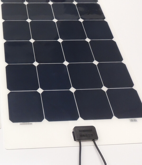 Square junction box option on flexible solar panel