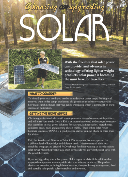 Touring Australia Magazine article choosing solar part 1