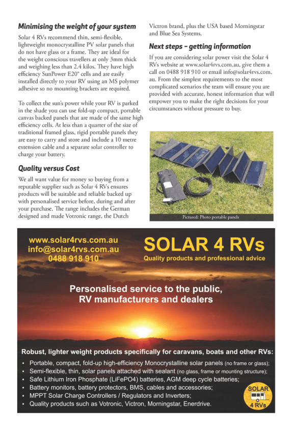 Touring Australia Magazine article choosing solar part 2