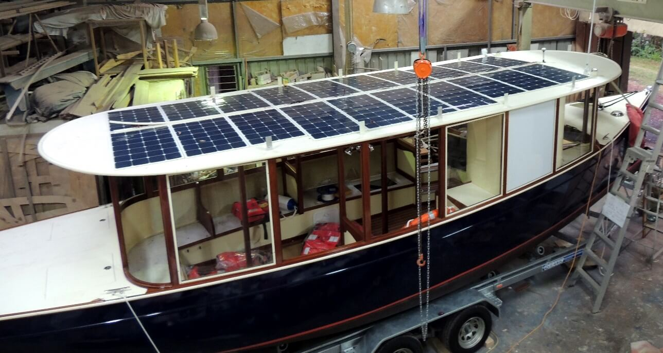Tourist ferries with flexible solar panels installed