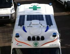 Solbian solar panels installed on an ambulance
