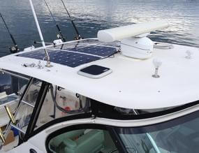 Boat canopy with RADpower flexible solar panels installed