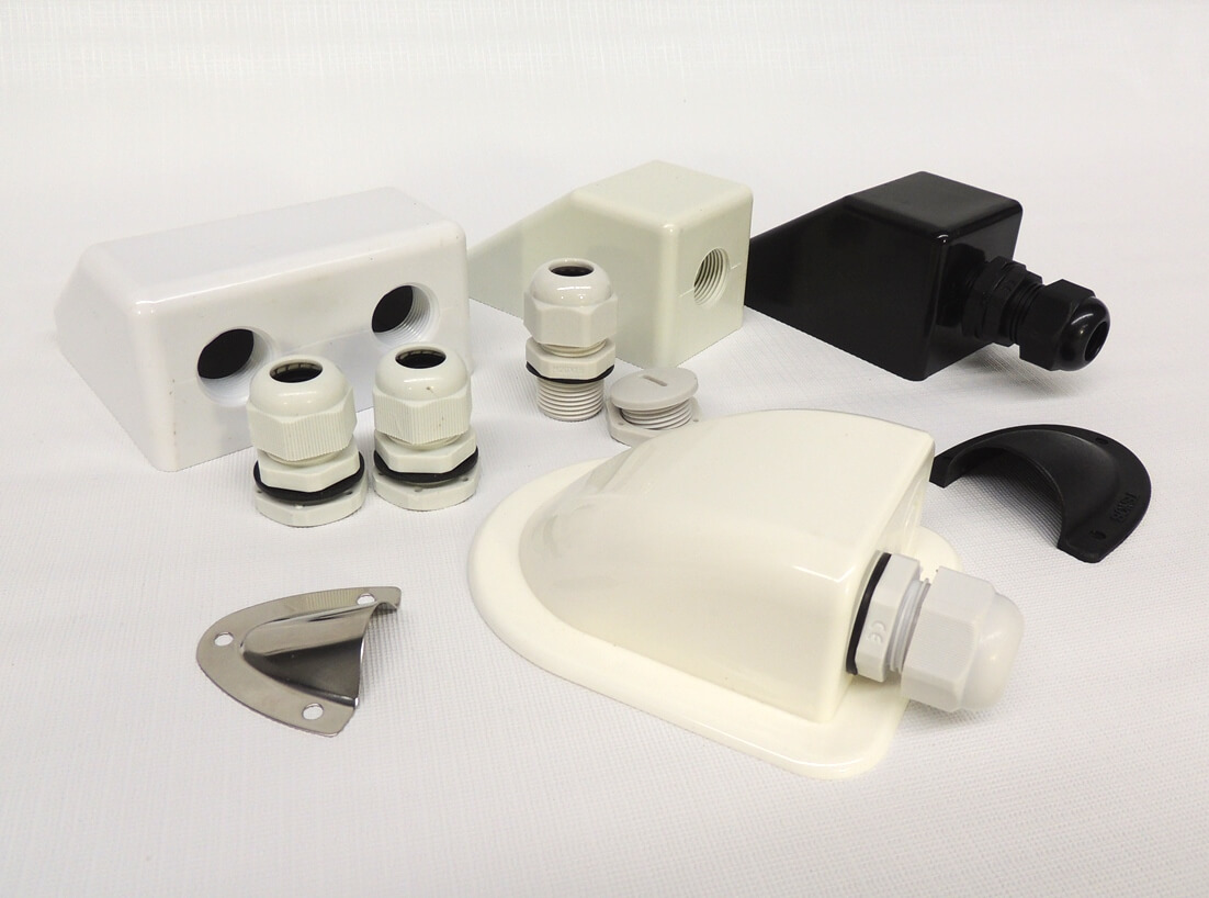 selection of cable entry covers for caravan roofs and boat decks
