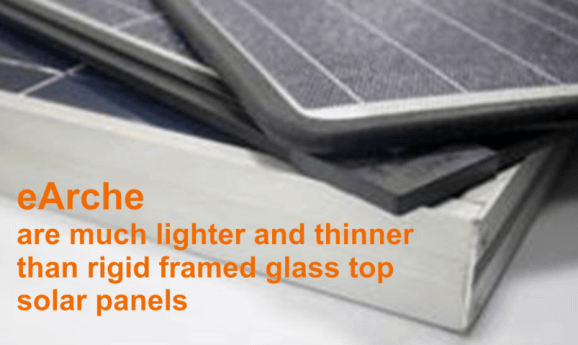 eArche lightweight solar panels are much thinner and lighter to conventional solar panels