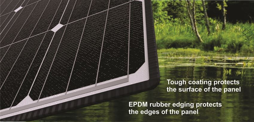 eArche flexible solar panels have rubber edge protection