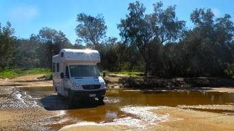 Motorhome travelling in remote location