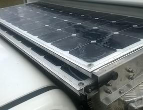 flexible solar panels on pullout tray on camper