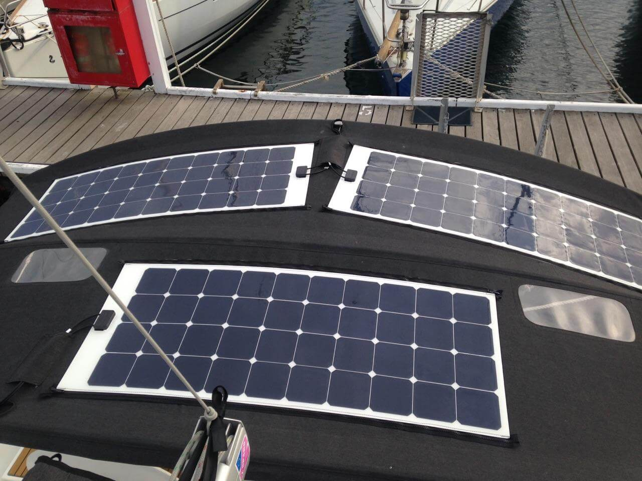 Yacht bimini with RADpower flexible solar panels