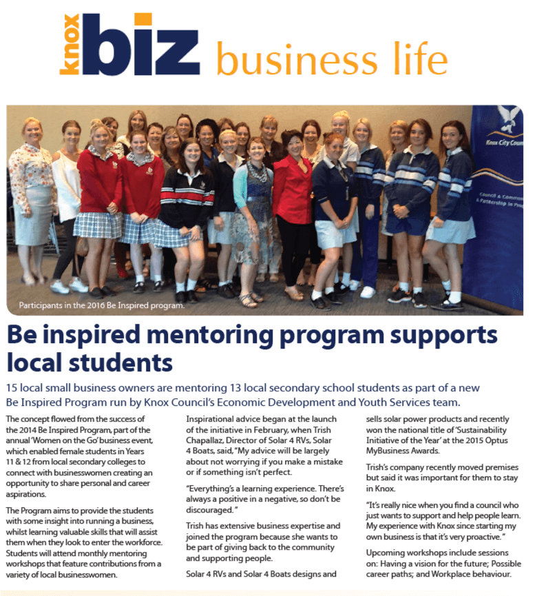 Knox Business Life Magazine article Trish Chapallaz mentoring