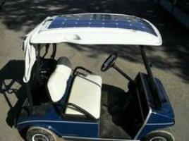 Golf cart with Solbian flexible solar panels installed